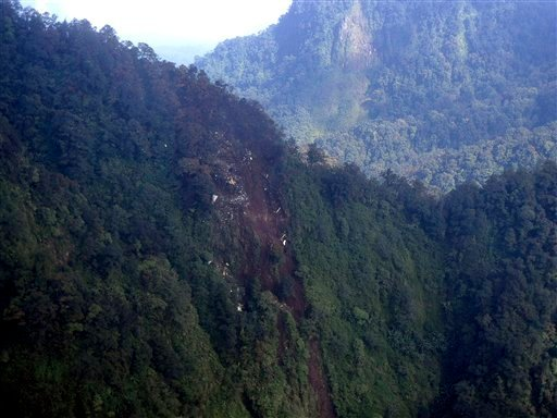 In this photo released by Indonesian Air Force, the wreckage of a missing Sukhoi Superjet-100 are scattered on the mountainside in Bogor, West Java, Indonesia, Thursday, May 10, 2012. (AP Photo/Indonesian Air Force)