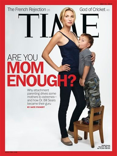 "This image provided by Time magazine shows the cover of the May 21, 2012 issue with a photograph of Jamie Lynne Grumet, 26, breastfeeding her 3-year-old son for a story on ""attachment parenting."""