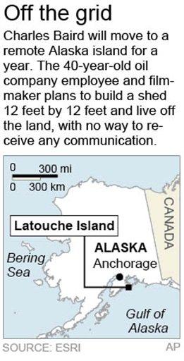 Map locates Latouche Island, Alaska, where a filmmaker will live for a year.