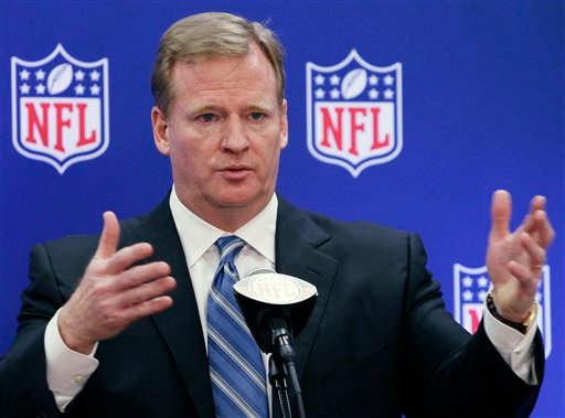 FILE - This June 21, 2011 file photo shows NFL commissioner Roger Goodell speaks during a news conference at the NFL football owners meetings in Rosemont, Ill. (AP Photo/Nam Y. Huh, File)