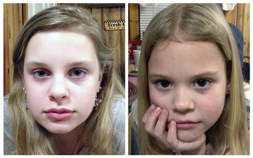 This combo of file photos provided by the Mississippi Department of Public Safety shows Alexandria Bain, 12, left, and Kyliyah Bain, 8. (AP)