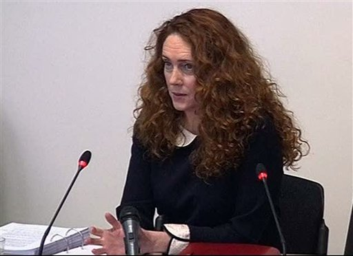 Former News of the World editor Rebekah Brooks gives evidence to Britain's media ethics inquiry in central London Friday May 11 2012 in this image from television. (AP)