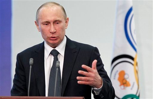 FILE - In this April 13, 2012 file photo, Russian Prime Minister Vladimir Putin speaks in Moscow, Russia. Among Putin's first acts now that he's back in Russia's top job was to stand up President Barack Obama. (AP Photo/Misha Japaridze, File)