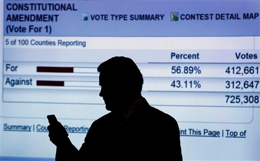 In this May 8, 2012, file photo National Organization for Marriage President Brian Brown stands in front of projected election results, for the passage of a North Carolina constitutional amendment defining marriage as solely between a man and a woman. (AP