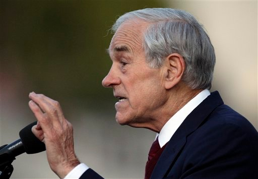 FILE - In this April 5, 2012, file photo, Republican presidential candidate Rep. Ron Paul, R-Texas speaks at the University of California at Berkeley, Calif. (AP Photo/Ben Margot, File)
