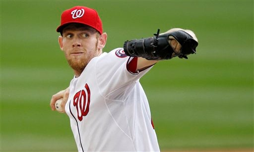 Washington Nationals starting pitcher Stephen Strasburg throws against the San Diego Padres.