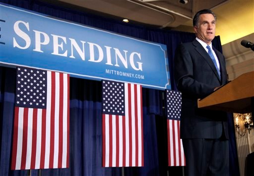 Republican presidential candidate, former Massachusetts Gov. Mitt Romney speaks during a campaign stop, Tuesday, May 15, 2012, in Des Moines, Iowa. (AP Photo/Charlie Neibergall)