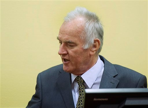 Former Bosnian Serb military commander Gen. Ratko Mladic is seen at the start of his trial at the Yugoslav war crimes tribunal in The Hague, Netherlands, Wednesday May 16, 2012.(AP)