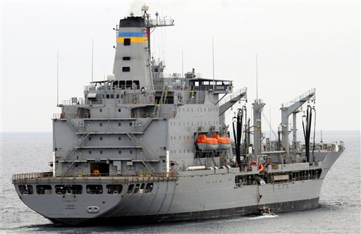 This image provided by the U.S. Navy shows the Military Sealift Command fleet replenishment oiler USNS Yukon underway in the Pacific Ocean.