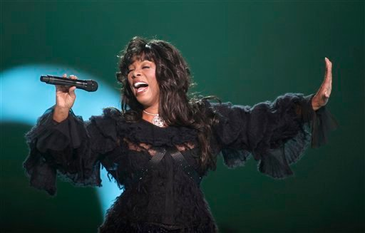 FILE - In this Dec. 11, 2009 file photo, Donna Summer performs at the conclusion of the Nobel Peace concert in Oslo, Norway.