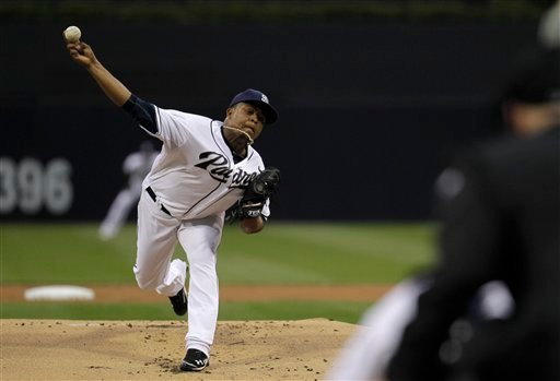 San Diego Padres starting pitcher Edinson Volquez throws against the Los Angeles Dodgers in the first inning during their baseball game on Thursday, May 17, 2012, in San Diego.