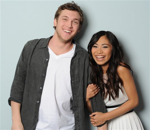 This image provided by FOX-TV shows American Idol finalists Phillip Phillips, left and Jessica Sanchez taken May 17, 2012.