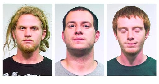 From left, Brent Vincent Betterly, 24, of Oakland Park, Fla., Jared Chase, 24, of Keene, N.H., and Brian Church, 20, of Ft. Lauderdale, Fla. (AP)