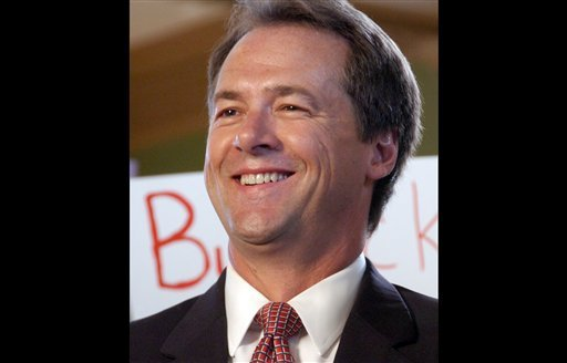 Montana Attorney General Steve Bullock is seen at an event in which he announced the start of his 2012 gubernatorial campaign on in this Sept. 7, 2011 file photo taken in Billings, Mont. (AP)