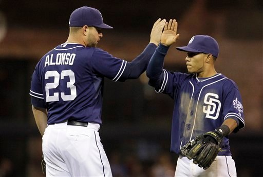 San Diego Padres second baseman Alexi Amarista, right, and teammate Yonder Alonso celebrate their win over the Los Angeles Angels in an interleague baseball game Saturday, May 19, 2012, in San Diego. (AP)
