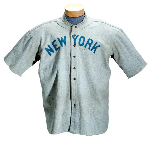 This undated photo provided by SCP Auctions shows a circa 1920 New York Yankees baseball jersey worn by Babe Ruth that sold for more than $4.4 million at auction, Sunday, May 20, 2012.