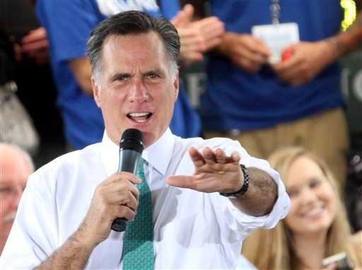 FILE - In this May 17, 2012 file photo, Republican presidential candidate, former Massachusetts Gov. Mitt Romney speaks in Jacksonville, Fla. (AP Photo/Mary Altaffer, File)
