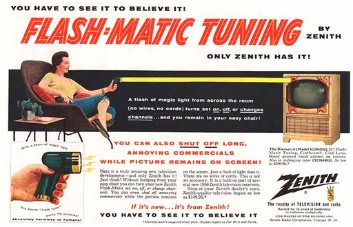 """This undated photo of a 1955 advertisement, provided by LG Electronics, shows an ad for a Zenith """"Flash-Matic,"""" the first wireless TV remote control."""