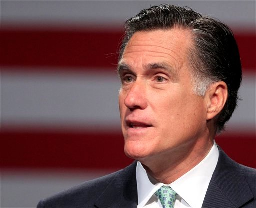 FILE - In this May 8, 2012 file photo, Republican presidential candidate, former Massachusetts Gov. Mitt Romney speaks in Lansing, Mich. (AP Photo/Carlos Osorio, File)
