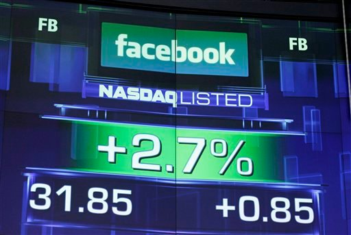 The pre-market price for Facebook stock is shown, Wednesday, May 23, 2012 at the Nasdaq MarketSite in New York. (AP Photo/Mark Lennihan)