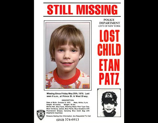 This undated file image provided May 28, 2010 by Stanley K. Patz shows a flyer distributed by the New York Police Department of Patz's son Etan who vanished in New York on May 25, 1979. (AP Photo/Courtesy NYPD/file)