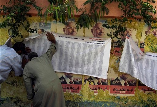 Egyptians check a voter list Thursday, May 24, 2012, outside a polling station in Cairo, Egypt. (AP Photo/Hasan Jamali)