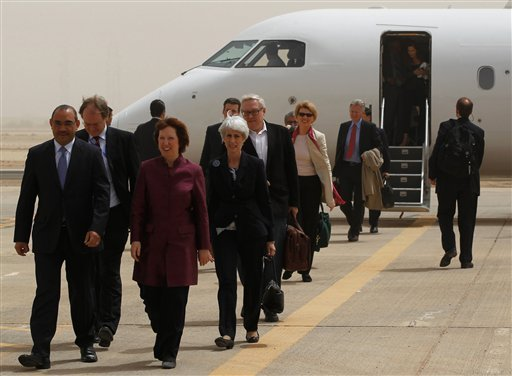 World powers negotiators arrive at the Baghdad International Airport in Iraq, Wednesday, May 23, 2012. (AP)