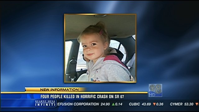 This is a video screen image of the 5-year-old female passenger involved in the SR 67 crash on Friday, May 25, 2012. She was transported to a local hospital for treatment of injuries that were not considered life-threatening.