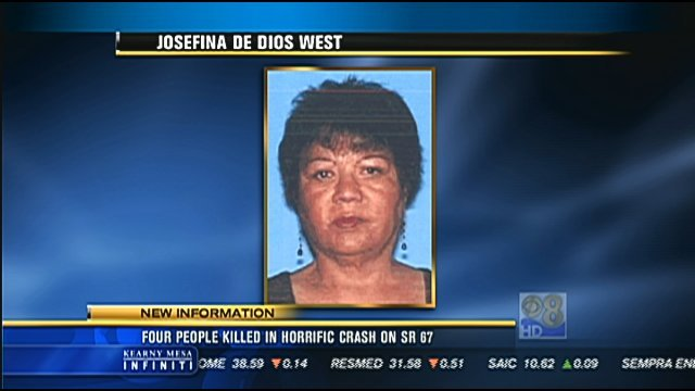 Josefina De Dios West, 74, was the front seat passenger in a  Camry, driven by Harold Eugene West, 78. Both were pronounced dead at the scene.