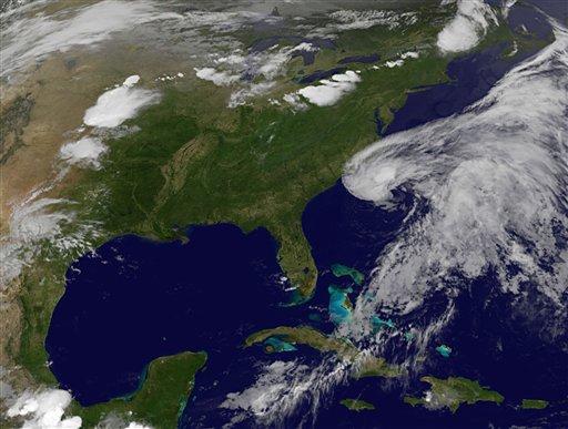 This image provided by NASA shows Subtropical Storm Beryl along the South Carolina Georgia coastlines. The image was acquired Friday May 25, 2012 at 11:30 p.m. EDT. (AP Photo/NASA)