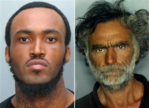 This combo made with undated photos made available by the Miami-Dade Police Dept. shows Rudy Eugene, 31, left, who police shot and killed as he ate the face of Ronald Poppo, 65, right, during a horrific attack. (AP Photo)