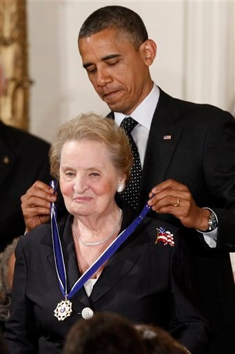 President Barack Obama awards the Medal of Freedom to former Secretary of State Madeleine Albright during a ceremony in the East Room of the White House in Washington, Tuesday, May 29, 2012.