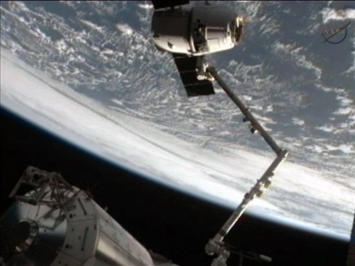 This framegrab image from NASA-TV shows the SpaceX Dragon capsule just after the capsule is released from the Canadarm2 at 5:49 a.m. EDT Thursday morning May 31, 2012. (AP Photo/NASA)