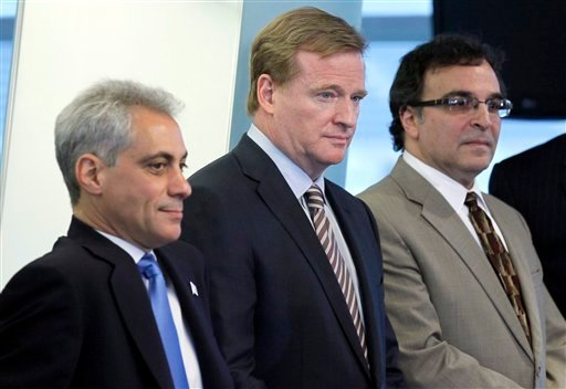 NFL Commissioner Roger Goodell, center, is flanked by Chicago Mayor Rahm Emanuel, left, and Ted Phillips, president and CEO of the Chicago Bears.