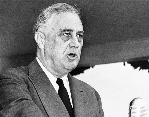 FILE - In this April 13, 1943 black-and-white file photo, President Franklin Delano Roosevelt speaks in Washington. (AP Photo/Robert Clover, File)