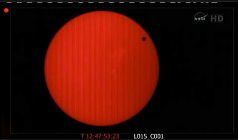 Screenshot from NASA's TV coverage of Venus' transit of the sun.