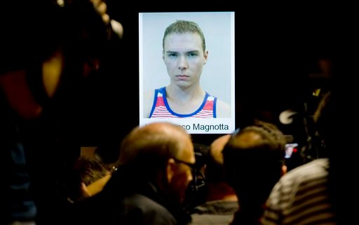 The photograph of Luka Rocco Magnotta,is shown during a news conference in Montreal, Tuesday, June 5, 2012. Magnotta told a judge Tuesday he will not fight his extradition from Germany to Canada, Berlin police say. (AP Photo)