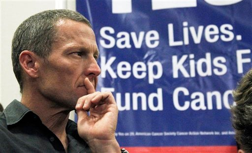 FILE - In this Friday, May 11, 2012 file photo, Cycling legend and cancer survivor Lance Armstrong attends a rally at a news conference at Children's Hospital in Los Angeles in favor of Proposition 29. (AP Photo/Reed Saxon)