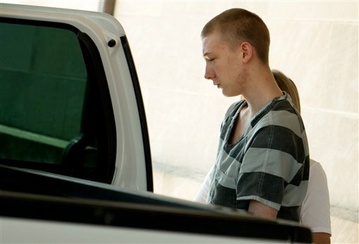 Colton Harvey leaves the Pope County Courthouse in Russellville Wednesday, June 6, 2012. (AP Photo/The Courier, Joshua Mashon)