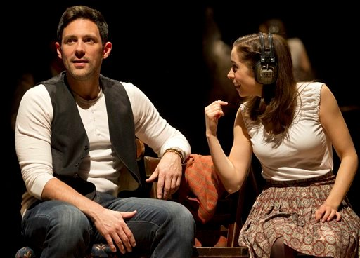 "In this theater image released by Boneau/Bryan-Brown, Steve Kazee, left, and Cristin Milioti are shown in a scene from ""Once,"" in New York. (AP)"