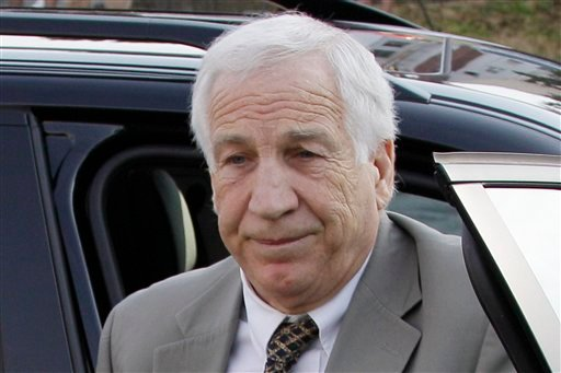 Former Penn State University assistant football coach Jerry Sandusky arrives at the Centre County Courthouse for opening statements in his trial in Bellefonte, Pa., Monday, June 11, 2012. (AP Photo/Gene J. Puskar)