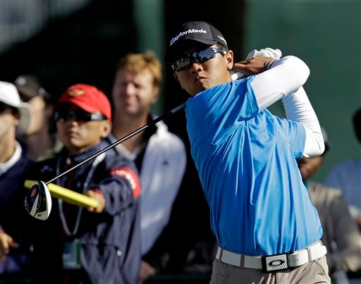 Andy Zhang hits a drive on the 16th hole during a practice round for the U.S. Open Championship golf tournament Tuesday, June 12, 2012, in San Francisco.