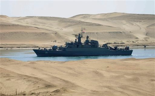 In this Tuesday, Feb. 22, 2011 file photo, the Iranian navy frigate IS Alvand passes through the Suez Canal at Ismailia, Egypt. (AP)