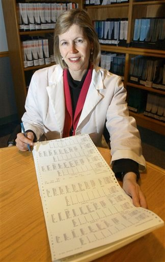 In this Dec. 12, 2002 photo, Dr. JoAnn Manson poses for a photo in Boston. Manson, chief of preventive medicine at Harvard's Brigham and Women's Hospital, says women employees are less likely than men to ask her for pay raises.(AP Photo/Elise Amendola)