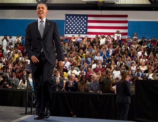 President Barack Obama arrives to speak at Cuyahoga Community College in Cleveland, Thursday, June 14, 2012. (AP Photo/Carolyn Kaster)