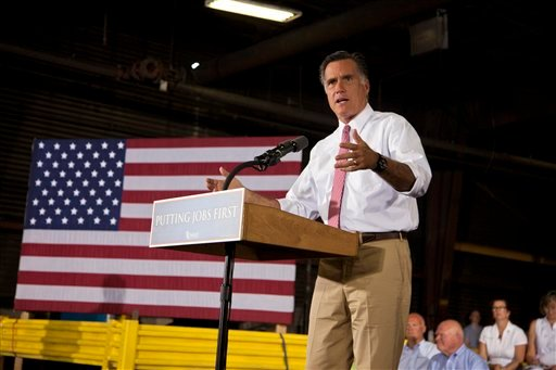 Republican presidential candidate, former Massachusetts Gov. Mitt Romney speaks at Seilkop Industries in Cincinnati, Ohio, Thursday, June 14, 2012. (AP Photo/Evan Vucci)