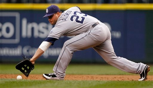 San Diego Padres first baseman Yonder Alonso fields a grounder from Seattle Mariners' Jesus Montero in the first inning of a baseball game Thursday, June 14, 2012, in Seattle. Montero was out on the play. (AP Photo/Elaine Thompson)