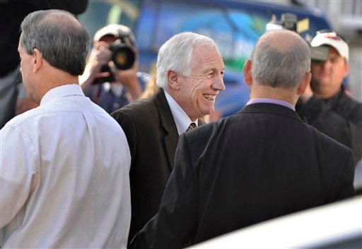 Former Penn State assistant football coachJerry Sandusky enters the Centre County Courthouse on Thursday, June 14, 2012, in Bellefonte, Pa., for his sex-abuse trial (AP Photo/York Daily Record, Jason Plotkin)