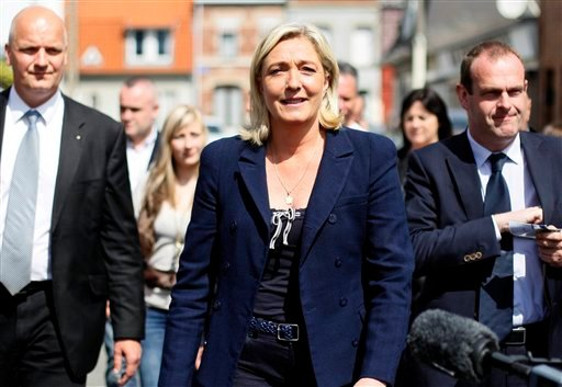 French far-right leader and National Front Party candidate for French legislative elections, Marine Le Pen is seen after voting for the second round, Sunday, June 17, 2012 in Henin-Beaumont, northern France. (AP)