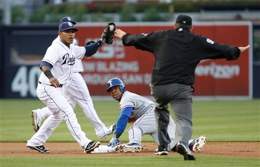 Padres shortstop Everth Cabrera, left, holds up the ball as he and Texas Rangers baserunner Elvis Andrus look to umpire Brian Knight who gives the safe call on a stolen base during the first inning June 18, 2012 in San Diego. (AP Photo/Lenny Ignelzi)